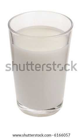 Glass Of Milk - isolated on white - stock photo