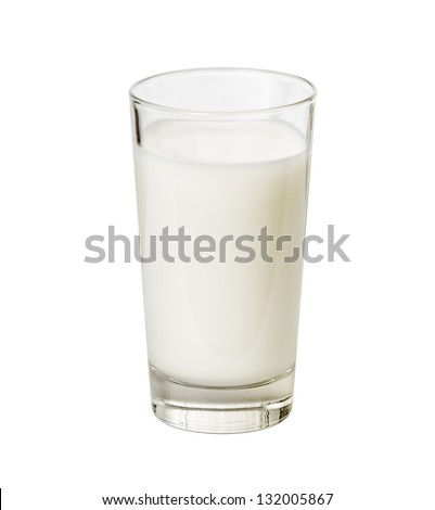Glass of milk isolated on white with clipping path included - stock photo