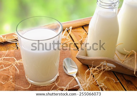 Glass of milk on a table on the field with two bottles of milk - stock photo