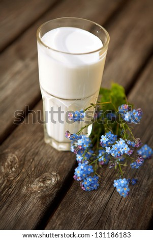 Glass of milk on nature background.milk - stock photo