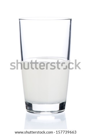 Glass of milk on white background - stock photo