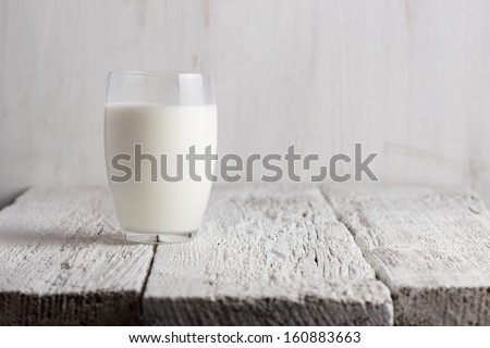 Glass of milk standing on old wooden table - stock photo