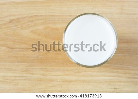 Glass of milk. top view. - stock photo