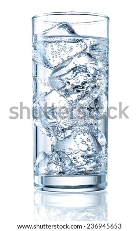 Glass of mineral carbonated water with ice - stock photo