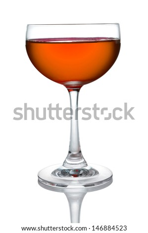 Glass of orange cocktails color isolate on white background - stock photo