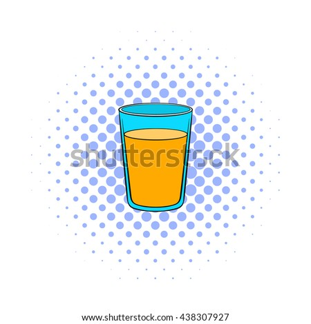 Glass of orange juice icon, comics style - stock photo