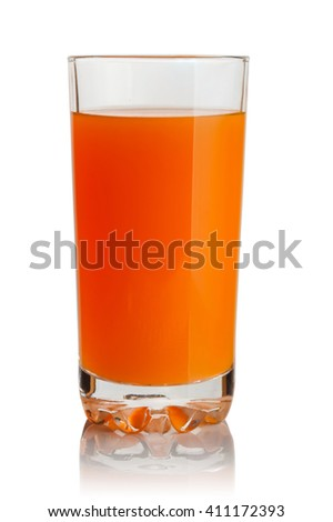 glass of orange juice on white background - stock photo
