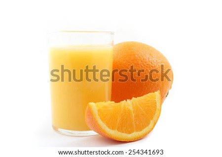 Glass of orange juice with oranges isolated over a white background. - stock photo