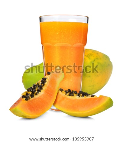 Glass of papaya smoothie isolated on white - stock photo