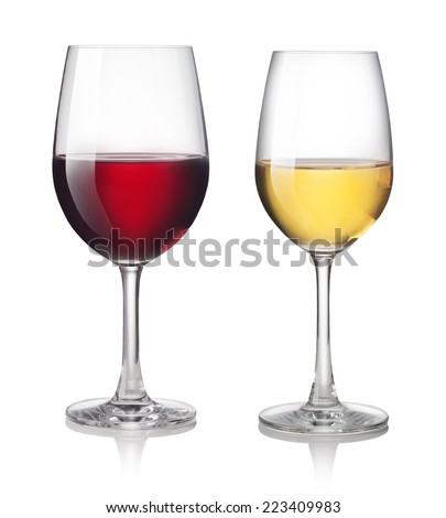 Glass of red and white wine on a white background - stock photo