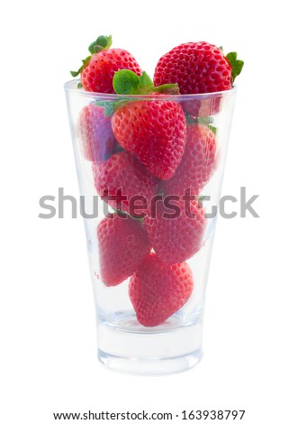 glass of  red strawberry isolated on white background - stock photo