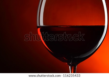 Glass of red wine close-up - stock photo