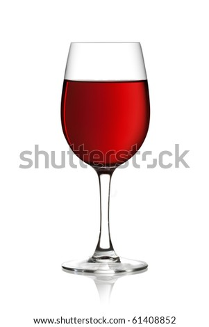 Glass of red wine on a white background and with soft shadow. The file includes a clipping path. - stock photo