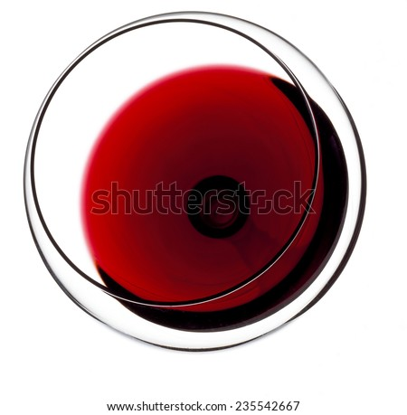 Glass of red wine. Top view - stock photo