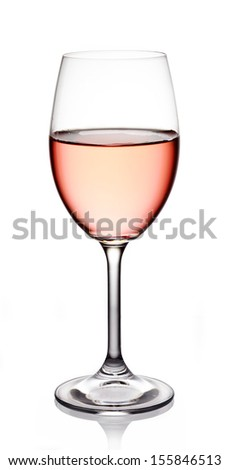 Glass of rose wine on white background - stock photo
