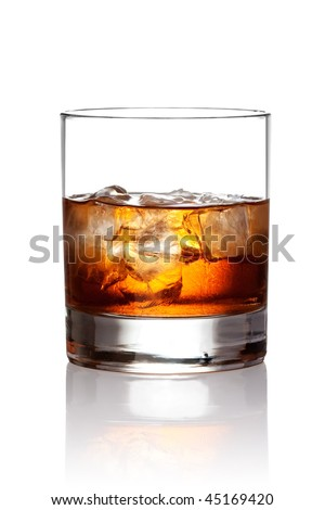 Glass of scotch whiskey and ice. With clipping path - stock photo