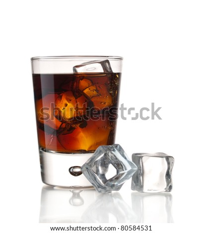 Glass of soda and ice cubes isolated on white - stock photo