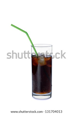 Glass of soda with a straw on a white background - stock photo