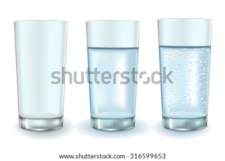 Glass of sparkling water and empty glass.Raster version. Illustration isolated on white. - stock photo