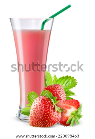 Glass of strawberry juice with fruit isolated on white. - stock photo