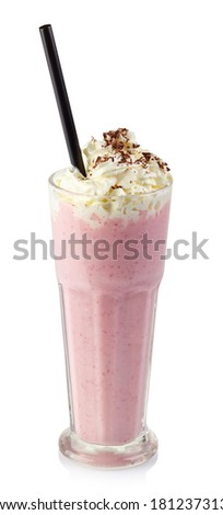 Glass of strawberry milkshake with whipped cream isolated on white background - stock photo