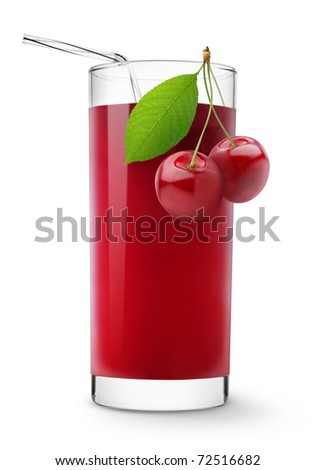 Glass of sweet cherry juice isolated on white - stock photo