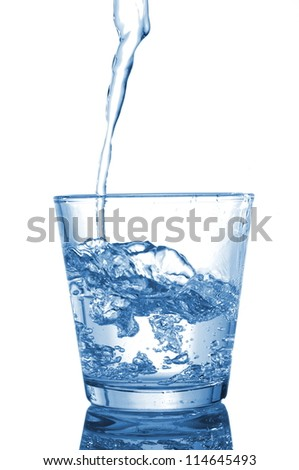 glass of water beverage showing healthy lifestyle - stock photo