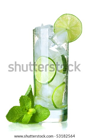 Glass of water with lime, ice and mint. Isolated on white background. - stock photo