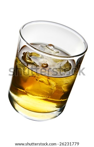 Glass of whisky with ice isolated over white background - stock photo