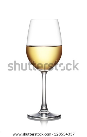 Glass of white wine isolated on a white background. The file includes a clipping path. - stock photo