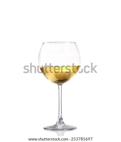 Glass of white wine on a white background and with soft shadow. The file includes a clipping path. - stock photo