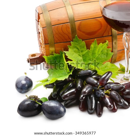 glass of wine and barrel isolated on white background - stock photo