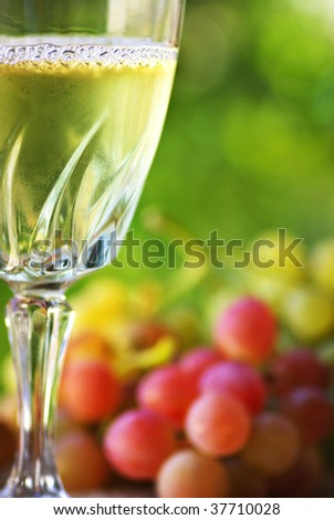 Glass of wine and grappes. - stock photo