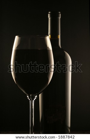 Glass of Wine and Wine Bottle - stock photo
