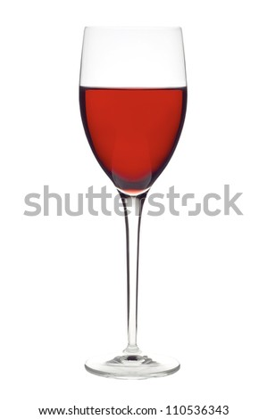 glass of wine, cheese and ripe grapes isolated on white - stock photo
