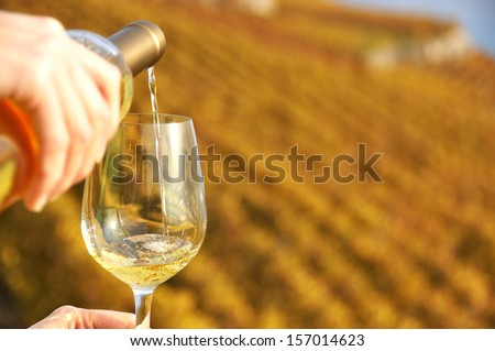 Glass of wine in the hand against vineyards in Lavaux region, Switzerland - stock photo