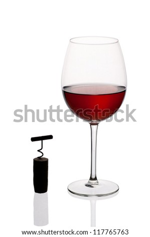 Glass of wine isolated on white background. - stock photo