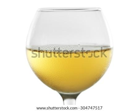 Glass of wine on grey background - stock photo