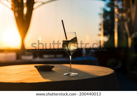 Glass of wine Sunlight - stock photo