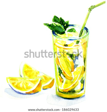 glass of yellow lemonade with ice and mint. watercolor painting on white background - stock photo