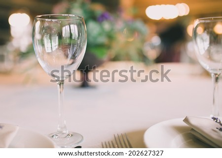 glass on a wedding table - stock photo