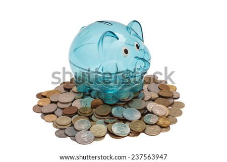 Glass Piggy Bank And Coins - stock photo
