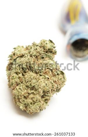 glass pipe, smoke marijuana  - stock photo
