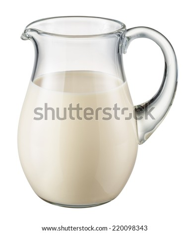 Glass pitcher of fresh milk isolated on white background. With clipping path - stock photo
