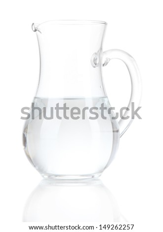 Glass pitcher of water isolated on white - stock photo