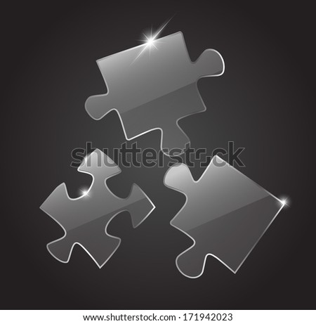 Glass 3 puzzle pieces - stock photo