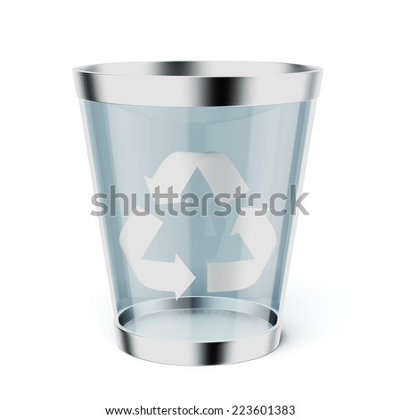 Glass  recycle trash can - stock photo