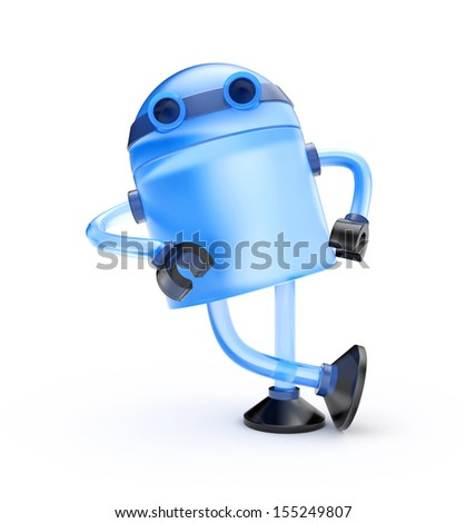 Glass robot leaning on an imaginary object - stock photo