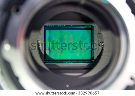 Glass sensors of video cameras. - stock photo