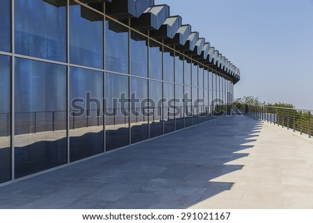 glass showcase in a modern building - stock photo